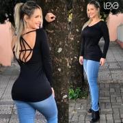 Blusa Daniela Canelada Preta