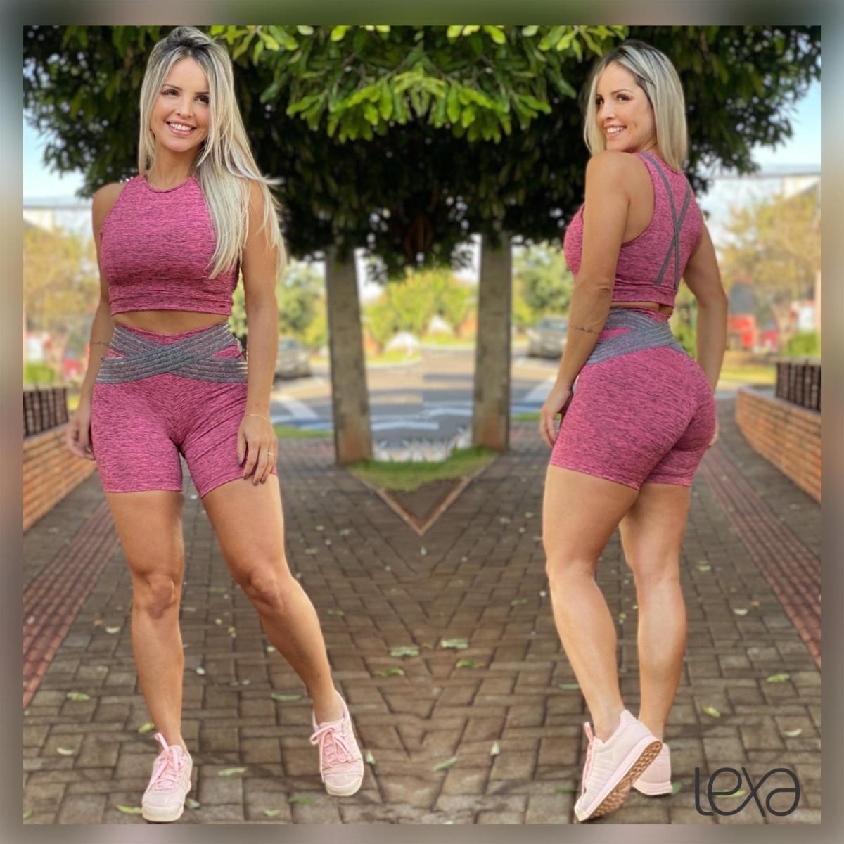 Conjunto Gabriela Shorts Sofia Mesclado Rosa