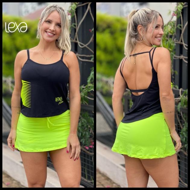 Conjunto Michele Belly Preto com Amarelo Neon