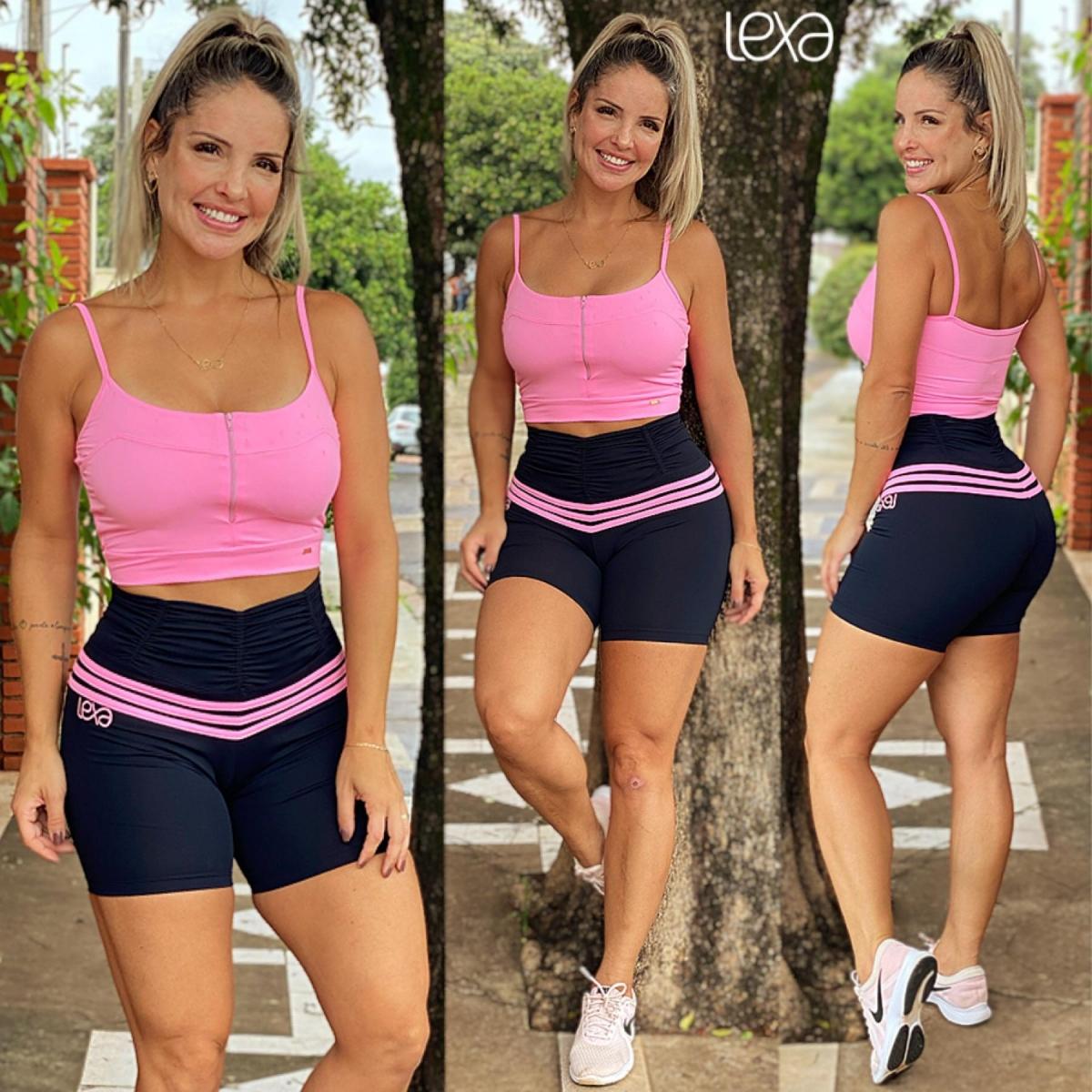 Conjunto Zíper Shorts Ca7 Preto Listras Rosa Chiclete