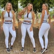 Cropped Fashion Branco Detalhes Pretos