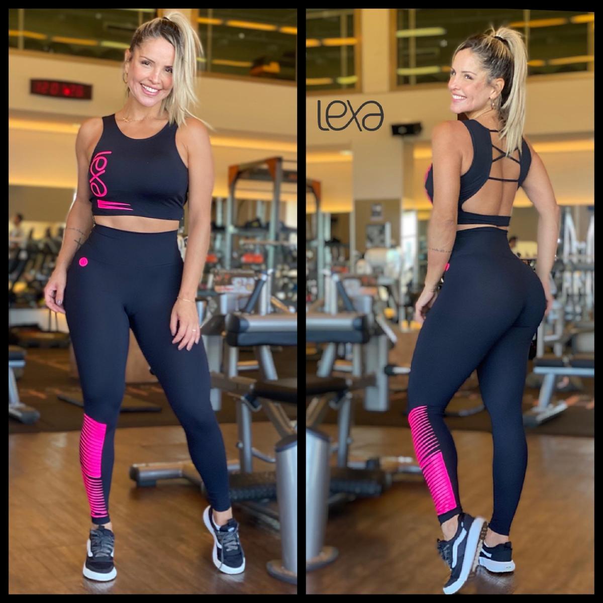 Legging Básica Preta Raios Pink
