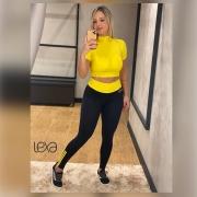Legging Ca7 New Preta Cós Amarelo