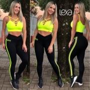 Legging Visa Preta Listras Neon