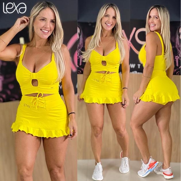Saia Shorts Belly Babado Amarela