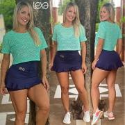 Saia Shorts Belly Babado Azul Marinho