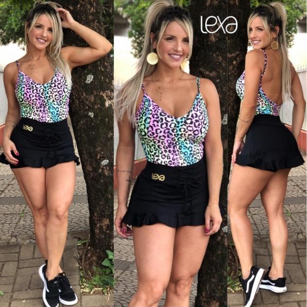 Saia Shorts Belly Babado Preta