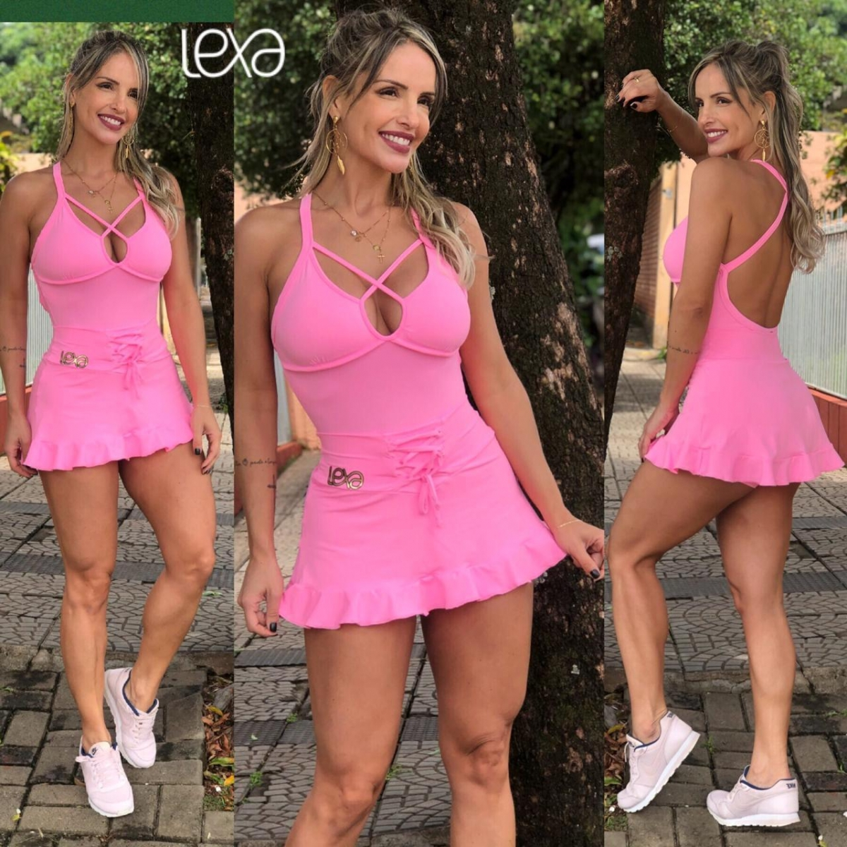 Saia Shorts Belly Babado Rosa Chiclete