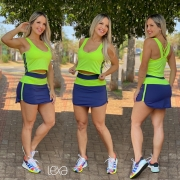 Saia Shorts Rafaela Azul Marinho e Amarelo Neon
