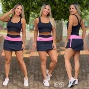 Saia Shorts Rafaela Preta com Rosa Chiclete