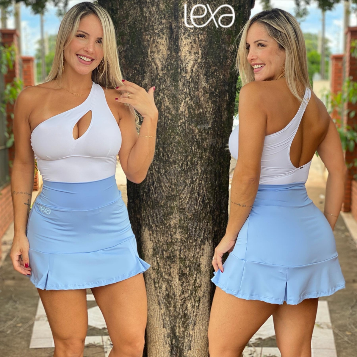 Saia Shorts Tânia Azul Bebê