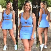 Saia Shorts Zíper Azul Bebê