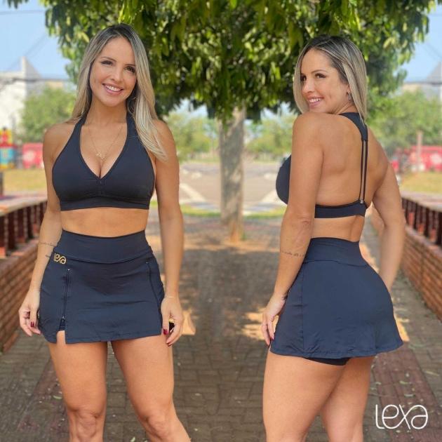 Saia Shorts Zíper Preta