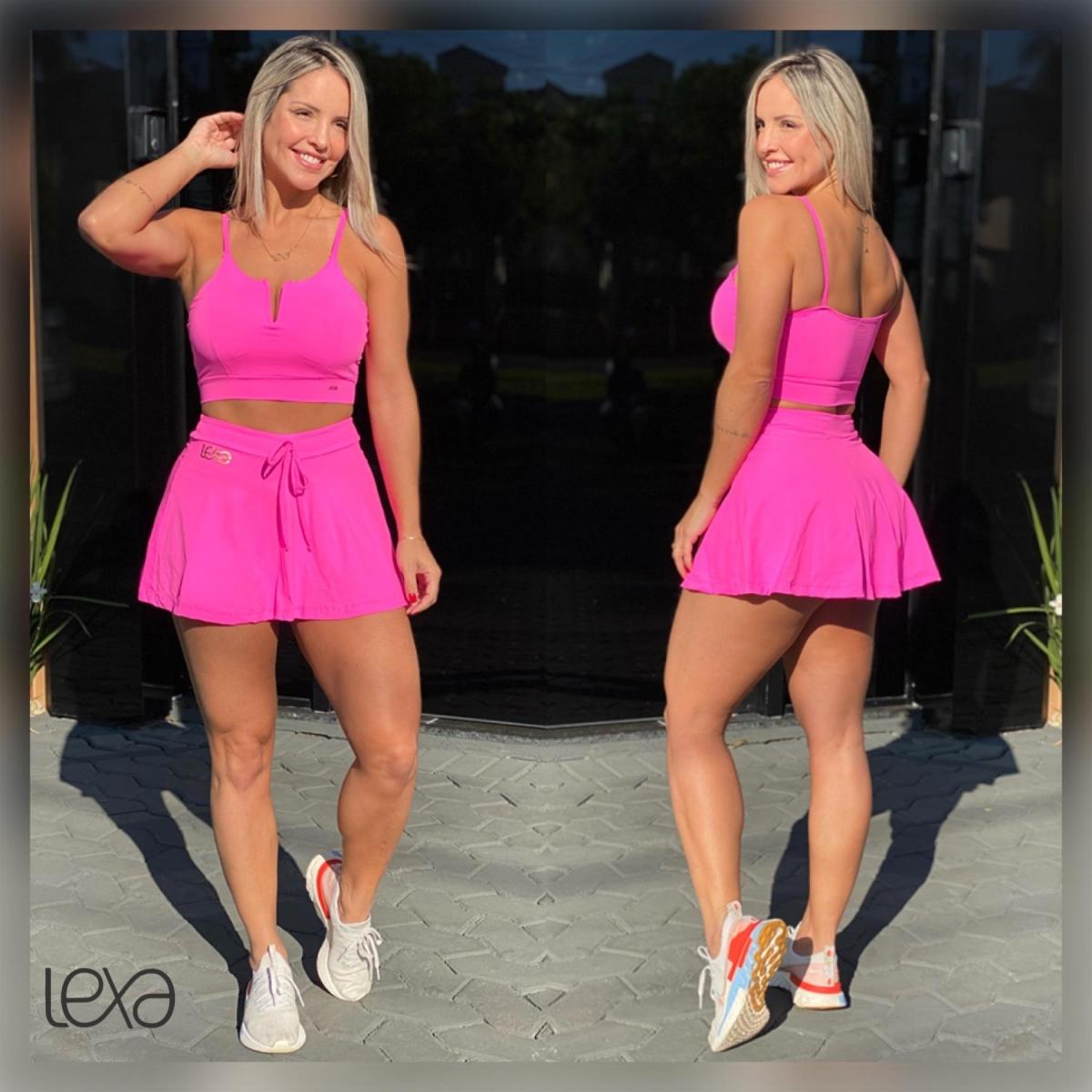 Saia Shorts Zumbar Rosa Neon