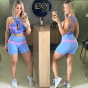 Shorts Ca6 Azul Bebê Listras Rosa Chiclete
