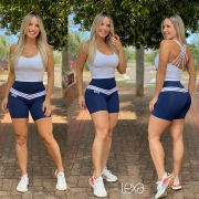 Shorts Ca6 Azul Marinho Listras Brancas