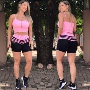 Shorts Ca7 Preto Listras Rosa Chiclete