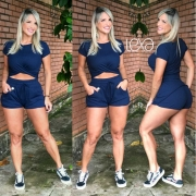 Shorts Eliana Canelado Azul Marinho