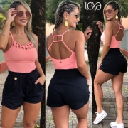Shorts Eliana Canelado Preto