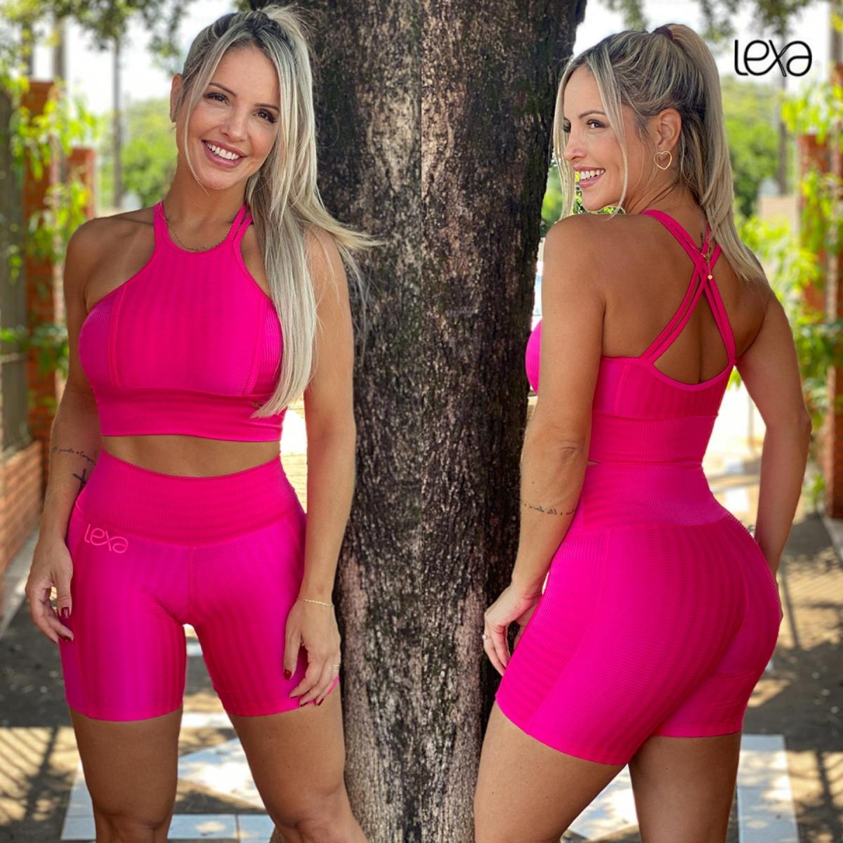 Shorts Faixa Zigue-Zague Pink Neon