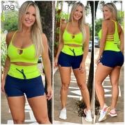 Shorts Mini Raia Marinho com Amarelo Neon