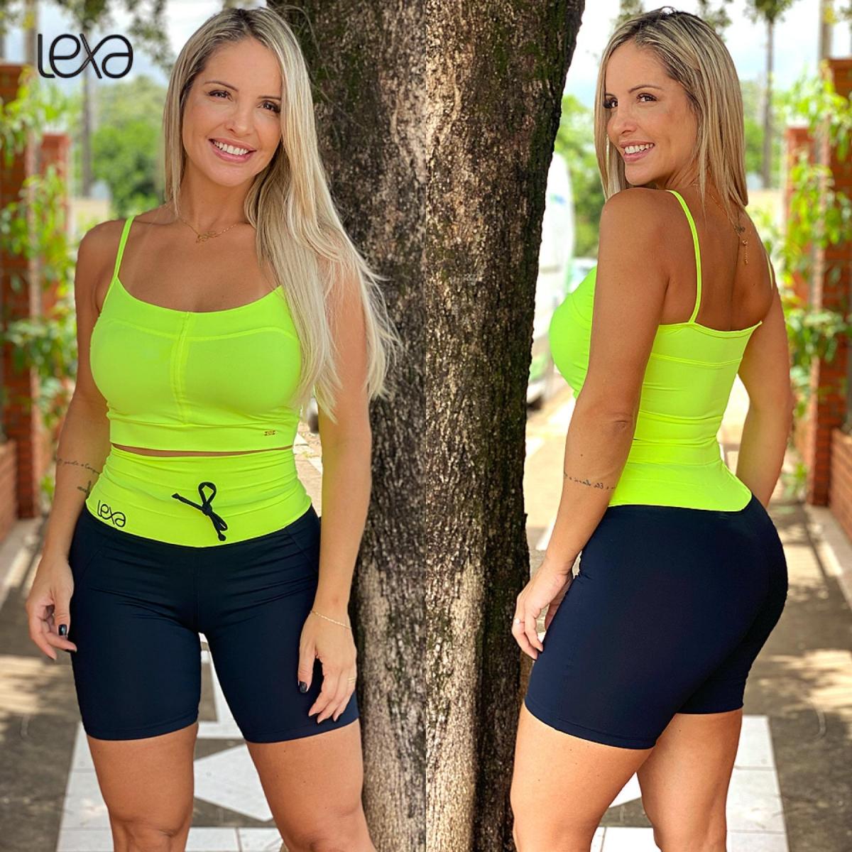 Shorts Raia Preto Cós Amarelo Neon