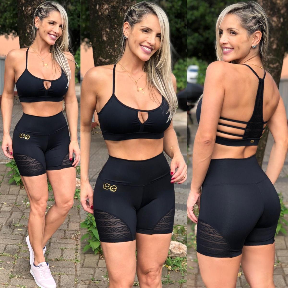 Shorts Tule Rendado Preto